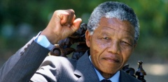 Nelson Mandela holds up his clenched fist in triumph the day after his release from prison in 1990 after 27 years at the age of 72. (Photo courtesy of Getty Images)