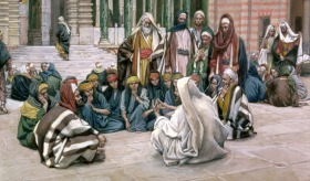 Jesus Speaks Near the Treasury, by James Tissot