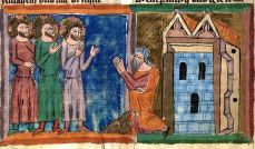 Abraham-Welcomes-Strangers-in-14th-Century-illuminated-manuscript
